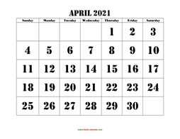 printable april 2021 calendar larger font