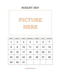 printable august calendar 2021 add picture