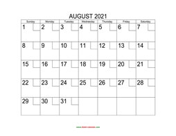 Printable August 2021 Calendar with check boxes (horizontal)