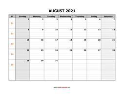 printable august calendar 2021 large box grid