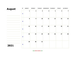 Printable August 2021 Calendar, large box, Federal Holidays listed, space for notes (horizontal)