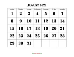 printable august calendar 2021 large font