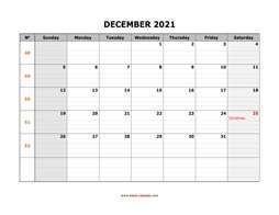Printable December 2021 Calendar, large box grid, space for notes (horizontal)