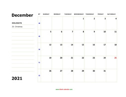 printable december calendar 2021 large box space notes