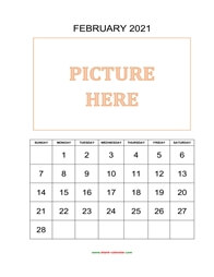 printable february 2021 calendar, pictures can be placed at the top