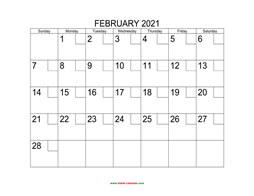 printable february 2021 calendar check boxes