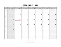 printable february 2021 calendar large box grid, space for notes