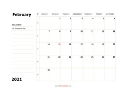 printable february 2021 calendar, large box, space for notes