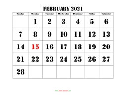 printable february 2021 calendar larger font