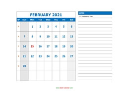 printable february calendar 2021 large space appointment notes