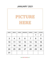 printable january calendar 2021 add picture