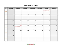 printable january 2021 calendar large box grid, space for notes