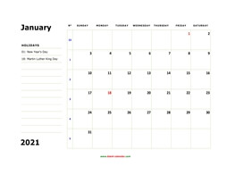 printable january calendar 2021 large box space notes