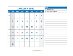 printable january calendar 2021 large space appointment notes