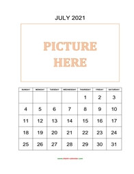 printable july 2021 calendar, pictures can be placed at the top