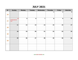 printable july 2021 calendar large box grid, space for notes