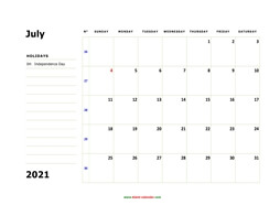 printable july 2021 calendar, large box, space for notes