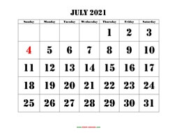 printable july 2021 calendar larger font