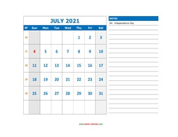 printable july calendar 2021 large space appointment notes