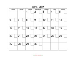 printable june calendar 2021 check boxes