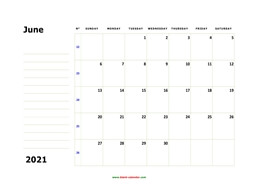 Printable June 2021 Calendar, large box, Federal Holidays listed, space for notes (horizontal)
