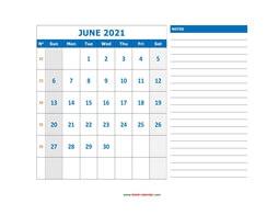 Free Download Printable June 2021 Calendar, large box ...