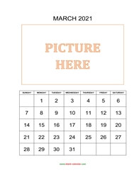 printable march 2021 calendar, pictures can be placed at the top