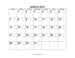 printable march 2021 calendar check boxes