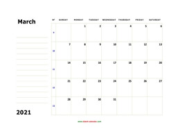 printable march 2021 calendar, large box, space for notes
