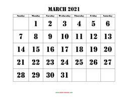 printable march 2021 calendar larger font