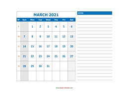 printable march calendar 2021 large space appointment notes