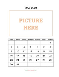 printable may 2021 calendar, pictures can be placed at the top