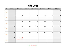 Printable May 2021 Calendar, large box grid, space for notes (horizontal)