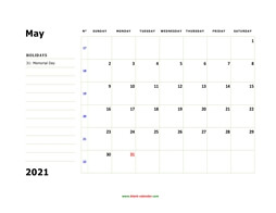 printable may 2021 calendar, large box, space for notes