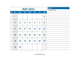 printable may calendar 2021 large space appointment notes