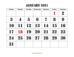 printable monthly calendar 2021 larger font