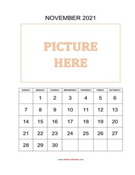 printable november 2021 calendar, pictures can be placed at the top