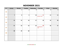 printable november 2021 calendar large box grid, space for notes
