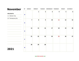 printable november 2021 calendar, large box, space for notes