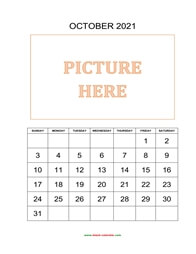 printable october 2021 calendar, pictures can be placed at the top