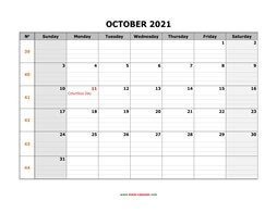 printable october 2021 calendar large box grid, space for notes