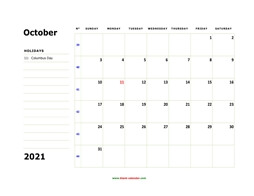 printable october 2021 calendar, large box, space for notes