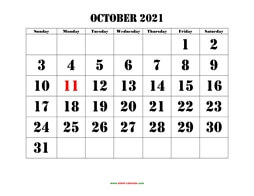 printable october 2021 calendar larger font