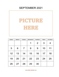 Printable September 2021 Calendar, pictures can be placed at the top (vertical)
