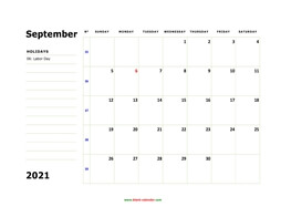 printable september calendar 2021 large box space notes