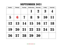 printable september 2021 calendar larger font