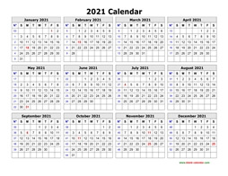 printable calendar 2021 clean design