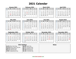 printable calendar 2021 federal holidays