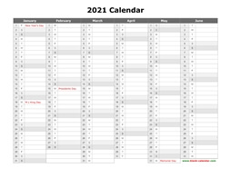 printable calendar 2021 month in column