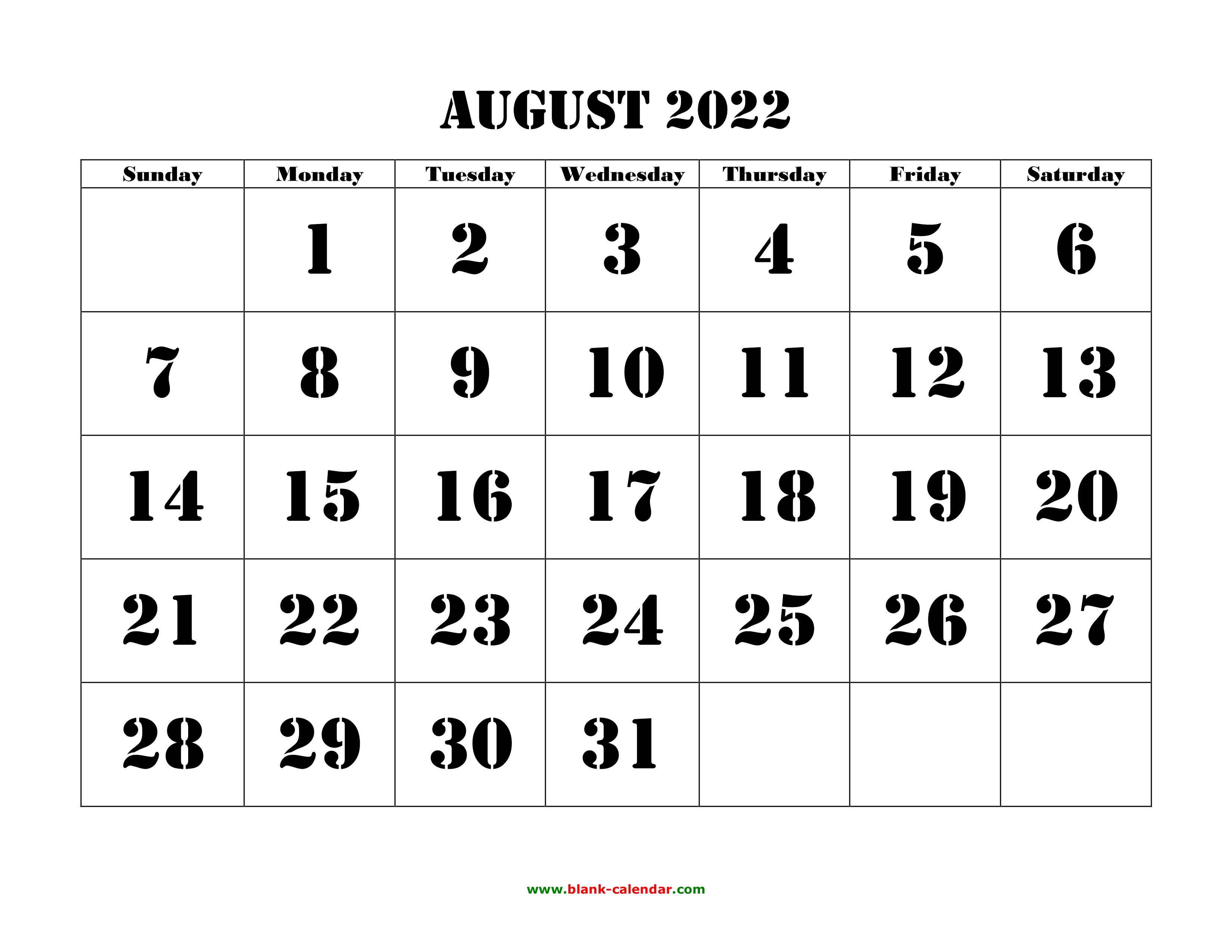 August 2022 Calendar.Free Download Printable August 2022 Calendar Large Font Design Holidays On Red